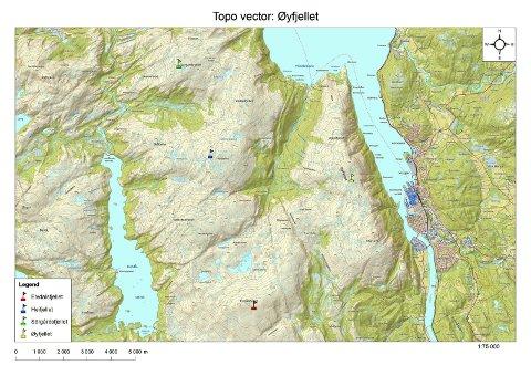 PLANER: Kartet viser området hvor Eolus Vind planlegger å bygge et vindkraftanlegg på Øyfjellet.