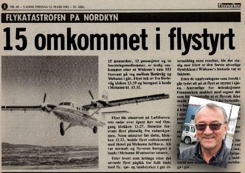 15 OMKOMNE: Det var ingen som overlevde flystyrten utenfor Mehamn i 1982. Finnmarkens journalist Inge Brox dekket tragedien for avisen.