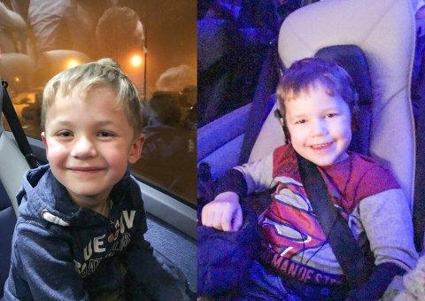GUTTA PÅ TUR: Elian (6) og Nikolai (4) hadde godt humør på hele bussturen fra Lakselv til Kirkenes i dag.