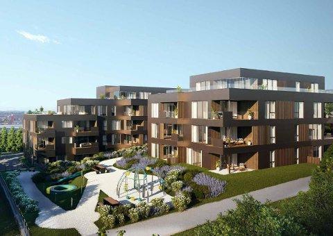 VESTERHAGEN: Omtrent slik skal bustadprosjektet Vesterhagen sjå ut, med 20 leilegheiter i blokka til venstre (fire etasjar pluss underetasje) og 13 i blokka til høgre (fire etasjar). I tillegg blir det felles parkeringsanlegg under bakken. Illustrasjon: Sjo Fasting Arkitekter