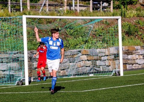 Scoret igjen: Martin Hegland feirer 2-0-målet sitt.