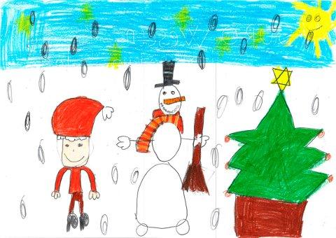 For et par år siden sendte Guro Weseth oss denne flotte tegningen. Nå vil vi har juletegninger også i år!