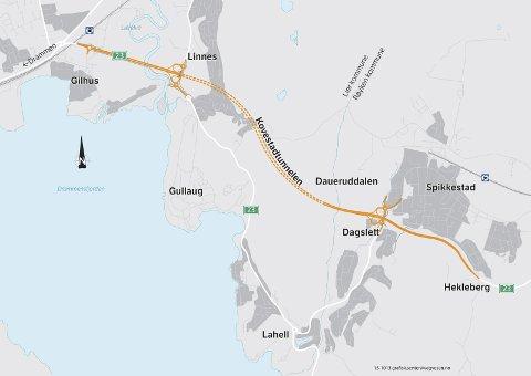 PROSJEKTET: I 2021 skal Kovestadtunellen stå ferdig mellom Dagslett i Røyken og Linnes. I løpet av et par uker starter de forberedende arbeidene.SKISSER: SVV