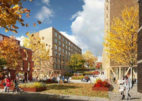I GANG: Byggingen av to blokker på henholdsvis sju og 12 etasjer er startet opp.