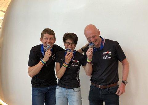 Irontrio: Remi Hanssen, Camilla Johansson og Ronnie Maas Pedersen er Lofotens første offisielle Ironmen.
