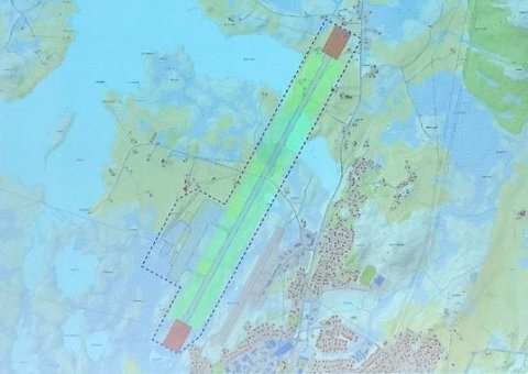 En storflyplass kan få rullebanen betydelig forlenget, som Avinors skisse viser.