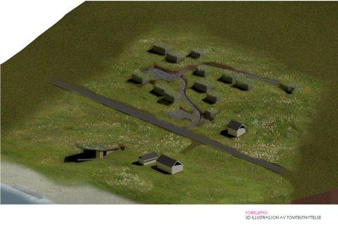 Foreløpig illustrasjon av tomteutnyttelsen til Galina Manikvas planlagte kunstsenter og minilandsby på Ramberg. Rambergstranda og europaveien går fram av bildet.