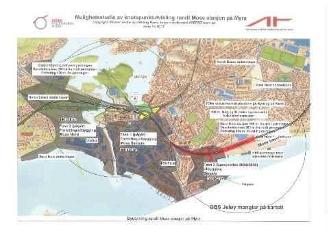 sammenligning av Bane NORs og Norsk banes linjevalg gjennom Moss sentrum