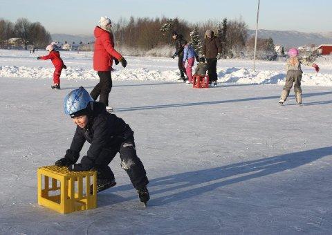 SKØYTETRENING: Fire år gamle Nicolay Havnegjerde  Norli fra Manglerud syntes det var trygt å ha en bruskasse å støtte seg til da han tok sine første skøytetak på isen ved Ekeberg skole søndag formiddag.