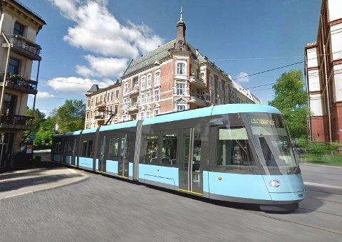URBOS 100: Slik vil trikkene i Oslo se ut om få år. Foto: Sporveien