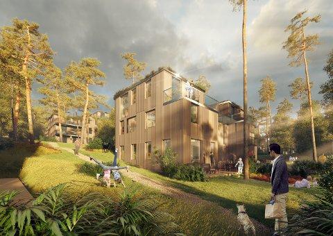 Nobil Eiendom ønsker å bygge over 500 boliger på Midtåsen. Lokalpolitikerne mener planene blir for omfattende. Illustrasjon: A-lab
