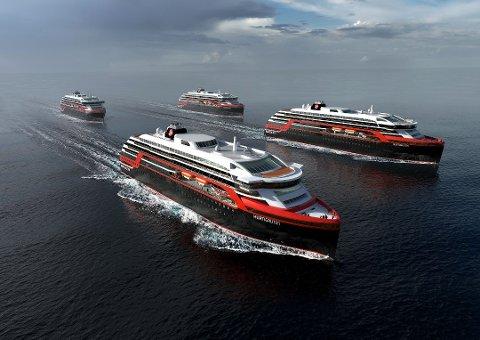 NYBYGG: Slik skal de nye fartøyene til Hurtigruten se ut.