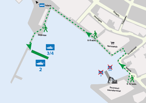 Sørjetéen: Kartet viser hvor man må gå for å komme seg til og fra hurtigbåten i Tromsø.
