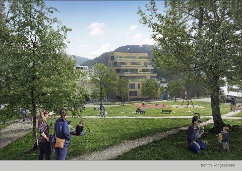 KONGEPARKEN: Utbyggers egne skisser av Kongeparken fra reguleringsplanen. Senere har kommunen lagt opp til en større utbedring av parken.