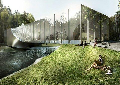 I GANG: Stålkonstruksjonen er nå på plass for den nye kunsthallen ved Kistefos Museet som skal gå over Randselva og romme 1000 kvadratmeter.