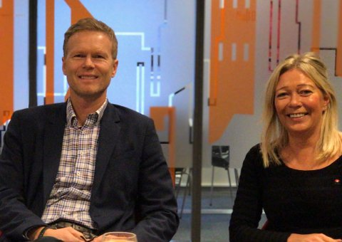 Dag Arnesen, daglig leder i Byen vår Gjøvik og Line Kildal, prosjekt- og markedsansvarlig i Byen vår Gjøvik inviterer til Byutviklingskonferansen 2019.
