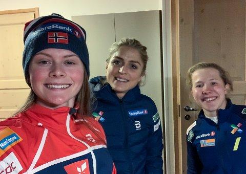 ROOMIES: Det var god stemning i leiligheten til Mathilde Myhrvold (t.v.), Therese Johaug og Helene Marie Fossesholm søndag ettermiddag.