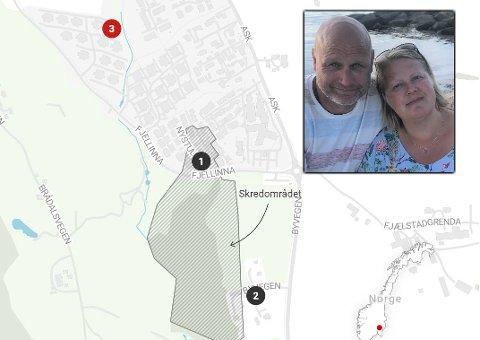 DRAMATIKK: Thomas Grue fra Fall var på hytta i Valdres  mens kona Anita var hjemme på Gjerdrum da jordskredet gikk natt til onsdag. Nyttårsaften møttes de igjen. Kartet viser hvor parets bolig ligger i forhold til rasstedet. Se kart også lenger ned i saken.