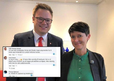 DEBATT: Mange delte sine meninger om hvorvidt Innlandet bør deles opp igjen eller ikke. Fylkesordfører Even Aleksander Hagen (Ap) og fylkesvaraordfører Aud Hove (Sp) er sentrale når fremtiden til Innlandet skal avgjøres.