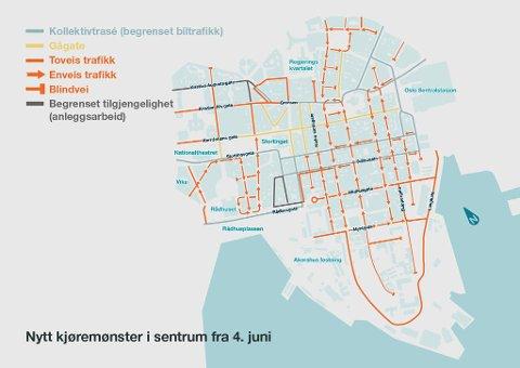 FULL STOPP: Fra mandag 4. juni stenges Oslo sentrum for gjennomkjøring, slik kartet viser. Målet er å redusere bilkjøringen.