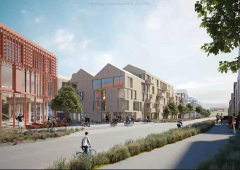 """NY BYDEL: ÅS Utviklingsselskap AS beskriver området de ønsker å bygge ut på Moerjordet som en ny """"bydel"""". Blir planene realisert vil det bety en stor utvidelse av Ås sentrum sørover."""