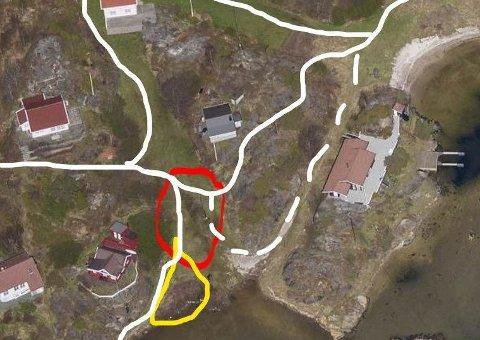 FEIL: Den røde sirkelen viser hvor overskuddsmassen skulle legges, og den gule hvor den ble lagt, ifølge klager. Nå må utbygger fjerne massene.