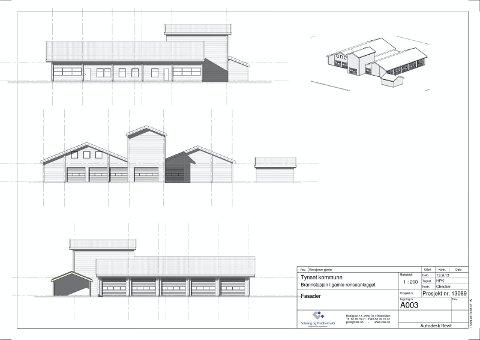 FASADE: Tegning av den nye brannstasjonen i det gamle renseanlegget på Tynset