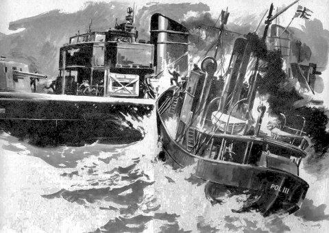 TREFNINGEN: Tegning av trefningen mellom den tyske torpedojageren Albatros og Pol III i Oslofjorden 8. april 1940.