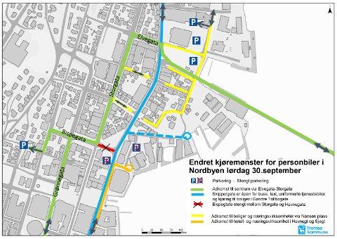 HER BLIR VEIENE STENGT: På dette kartet kan du se hvor veiene blir stengt på lørdag.