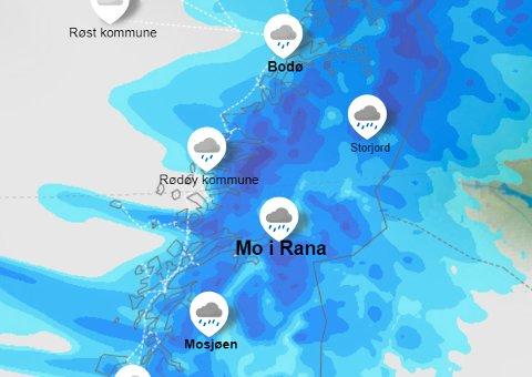 VÅTT: Slik ser nedbørskartet ut for Helgeland torsdag ettermiddag.