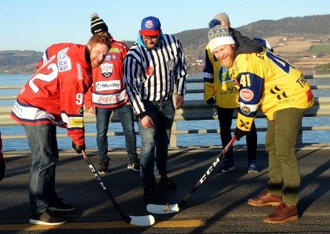 Nick Dineen og Patrick Thoresen byttet ut is med asfaltbrua over Mjøsa og snusboks som puck når L.I.K. og Storhamar promoterte Hockey Classic.