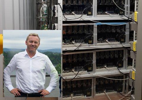 I GANG PÅ FOLLUM: Daglig leder Kristian Osestad i Crypto One AS (innfelt) har satt i drift pilotdatasenteret, som inneholder svært avansert datautstyr til produksjon av digital valuta.