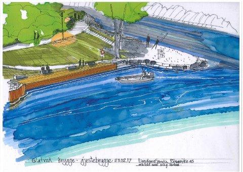 Slik: Og sånn blir det ferdige resultatet. Skisse ved arkitekt Erik G. Karlsen.