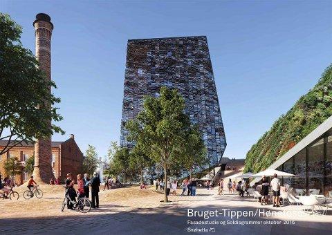 – Et høyhus her vil antakelig ikke bryte like dramatisk som på Ford-tomta, skriver Ole Jakob Løland i dette leserinnlegget. Illustrasjon: Snøhetta
