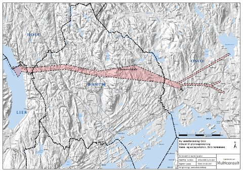 Kartet viser planområdet for den nye vannforsyningen til Oslo. Vannet skal gå gjennom en tunnel dypt under Nordmarka. Illustrasjon: Multiconsult