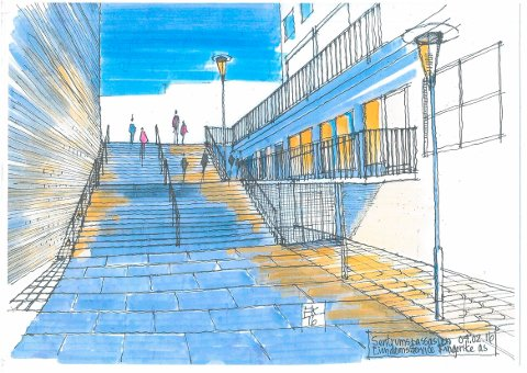 Slik kan det bli i sentrumspassasjen mellom Samfunnshuset og Sentrumskvartalet. Tegning: Eiendomsservice Ringerike