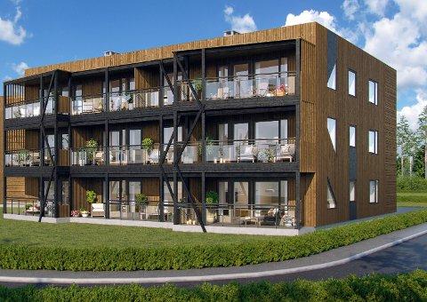 SOM I ÅDAL: Lavblokkene på Sokna skal ligne på bebyggelsen som er satt opp på Hallingby. Illustrasjon: Sandvold Boliger