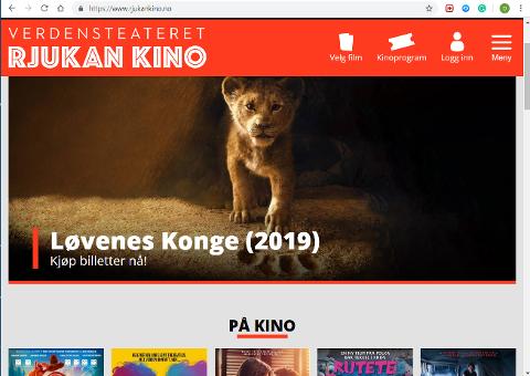LØVEBES KONGE: Den oppdaterte Løvenes konge fronter Rjukan Kinos nye nettside.