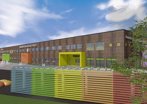 FÅR MOTBØR: Romerike International Schools planer på Neskollen. (Illustrasjon: Romerike Arkitekter)