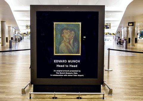 Munch: Kunstverket «Hode ved hode» ble avduket 27. april. Foto: Avinor