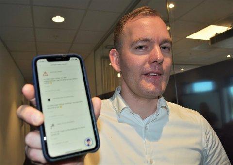 ENORM VEKST: Sondre Andersen er IT-sjef i Sandefjord kommune. Han opplever en enorm økning av nedlastinger av innbyggerappen nå som koronaviruset herjer. Nesten 20.000 personer har til nå lastet ned appen.
