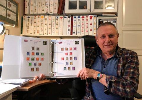 HOBBY: Ole-Fredrik Olsen har samlet frimerker i 67 år. Det gir han spenning og glede i hverdagen.