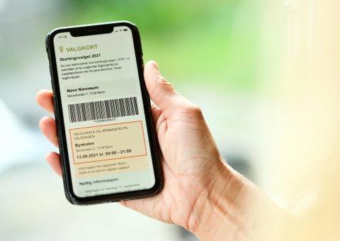 Digitale valgkort for Stortingsvalget 2021.