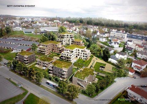 OPSJON:  Sarpsborg kommune sikrer seg tre av leilighetene i Storgata Terrasse og i bygningene som er nærmest Storgata. (Illustrasjon: Plus Arkitektur)