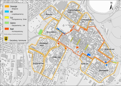 OPPDELT I SONER: Dette kartet viser de ulike sonene i Sarpsborg sentrum.  Borregaard er neste område hvor det innføres boligsoneparkering.