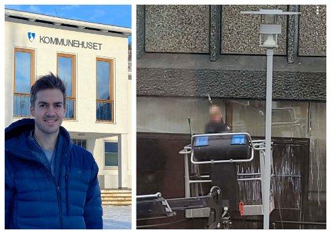"""NEDVASK: I Sogndal har det såkalla """"bankbygget"""" blitt grundig nedvaska med høgtrykkspylar både torsdag og fredag. Noko som har fått folk til reagera når det elles er restriksjonar på vatning. Tenesteleiar Sjur Lauvdal er samd i at det ikkje ser heilt bra ut, men ulovleg er det ikkje."""