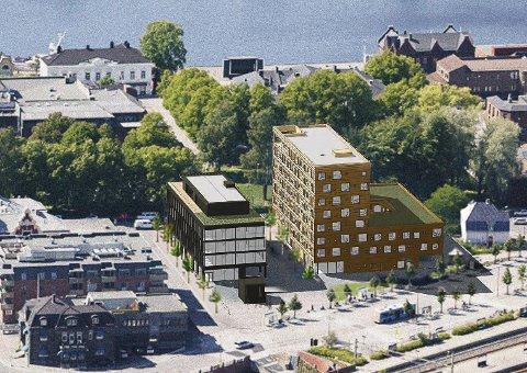 KAMP OM NRK: Utbyggerne av det nye kontorbygget på Kammerherreløkka (mørkt bygg) holder av to etasjer til NRK. Til høyre for kontorbygget ses det nye hotellet.
