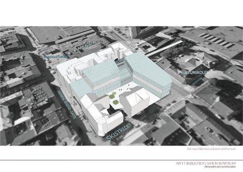 MEIERIKVARTALET: En skisse av Meierikvartalet i Skien sentrum. Omkring en tredjedel av de spurte mener dette er stedet for et nytt Ibsenbibliotek.