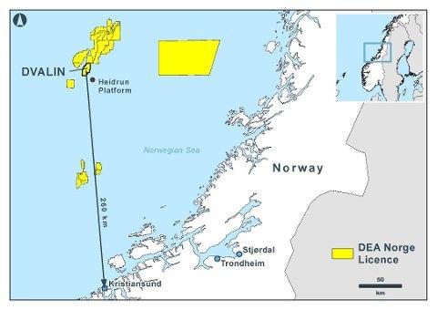 Dvalin ligger 260 kilometer nord for Kristiansund, og knyttes til Heidrun-feltet.