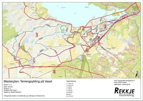 MASTERPLAN: Dette er områdene som kan utgjøre sykkelparken på Vaset.